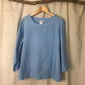 Hot Cotton Baby Blue Linen Boxy Lagenlook Top